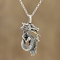 Sterling silver pendant necklace, 'Fearsome Dragon' - Sterling Silver Dragon Pendant Necklace from India
