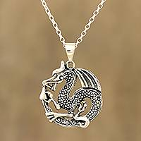 Sterling silver pendant necklace, 'Dragon's Delight' - Artisan Crafted Sterling Silver Pendant Necklace from India