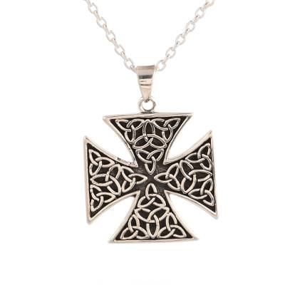 Sterling silver pendant necklace, 'Celtic Reverence' - Celtic Cross Sterling Silver Pendant Necklace from India