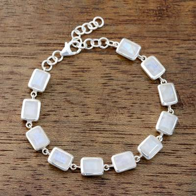 Rainbow moonstone link bracelet, Fascinating Rectangles