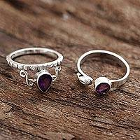 Amethyst rings, 'Glittering Harmony' (pair) - Faceted Amethyst Rings from India (Pair)