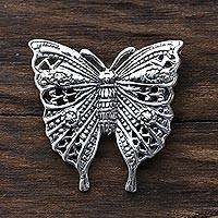 Sterling silver brooch, 'Inspiring Butterfly' - Sterling Silver Butterfly Brooch Crafted in India