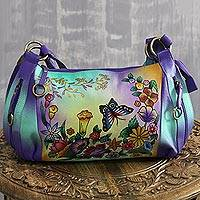 Leather sling, 'Butterfly Delight' - Hand-Painted Leather Sling Crafted in India
