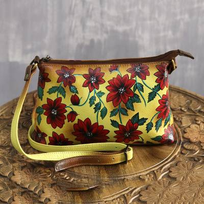 Leather sling, 'Floral Romance' - Red and Yellow Floral Motif Leather Sling from India