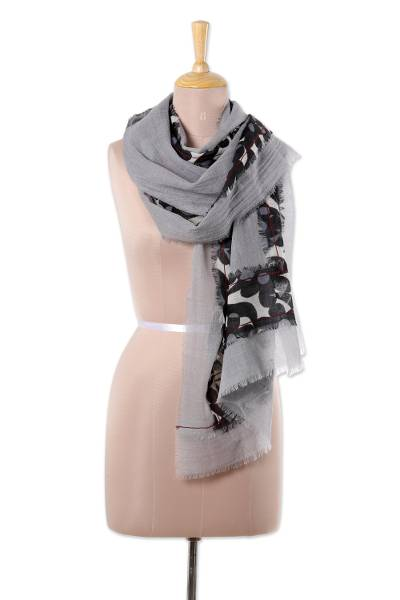 Wool shawl, 'Floral Frame' - Printed Floral Wool Shawl in Ash from India