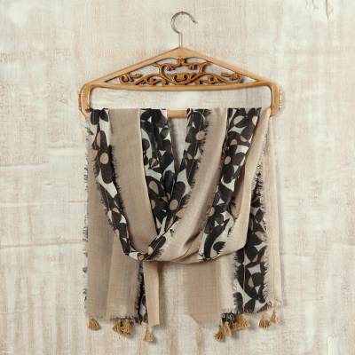 Wool shawl, 'Floral Taupe' - Printed Floral Wool Shawl in Taupe from India