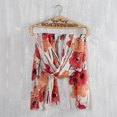 Wool shawl, 'Morning Allure' - Red and Orange Floral Wool Shawl from India