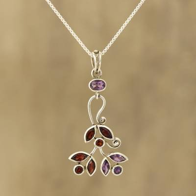 Amethyst and garnet pendant necklace, 'Leafy Dazzle' - Amethyst and Garnet Pendant Necklace from India