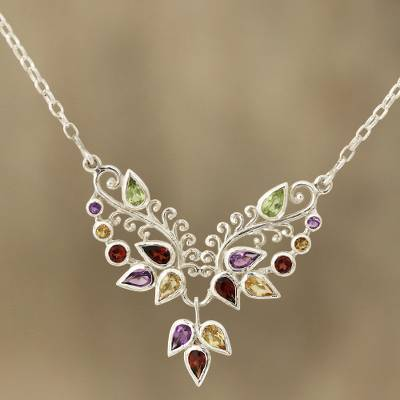 Multi-gemstone pendant necklace, 'Nature's Dazzle' - Multi-Gemstone Pendant Necklace from India
