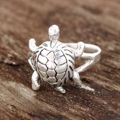 Sterling silver cocktail ring, 'Fascinating Turtle' - Sterling Silver Turtle Cocktail Ring from india