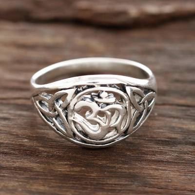 Sterling silver band ring, 'Spiritual Fusion' - Sterling Silver Om Pattern Band Ring from India
