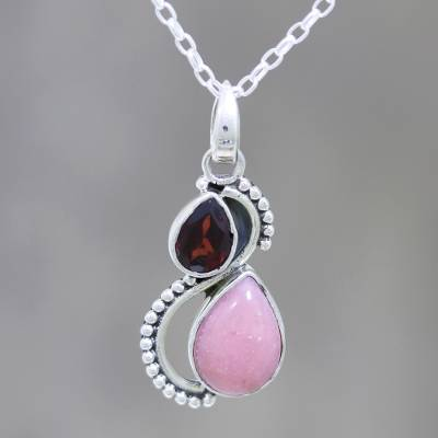 Garnet and opal pendant necklace, 'Two Teardrops' - Garnet and Opal Teardrop Pendant Necklace from India