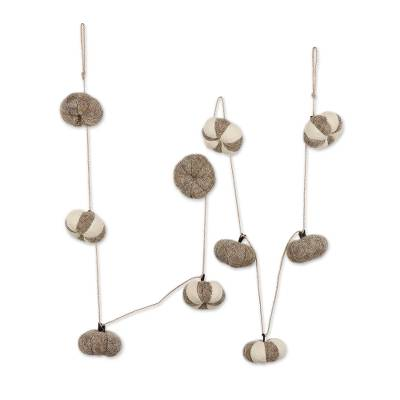 Wool felt ornament garland, 'Sophisticated Pumpkins' - Grey and Ivory Wool Felt Pumpkin Ornament Garland from India