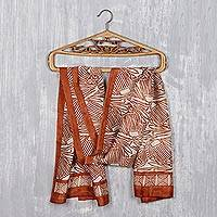 Block-printed silk scarf, 'Russet Abstraction' - Abstract Russet and Ivory Silk Wrap Scarf from India