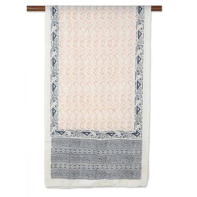 Block-printed silk scarf, 'Modern Beauty' - Block-Printed Geometric Silk Wrap Scarf from India