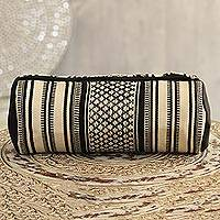 Cotton cosmetic bag, 'Alabaster Stars' - Alabaster and Black Cotton Cosmetic Bag from India