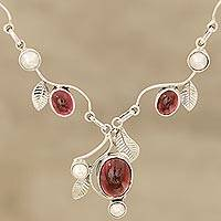 Garnet and cultured pearl pendant necklace, 'Enthralling Beauty' - Leaf Motif Garnet and Cultured Pearl Necklace from India
