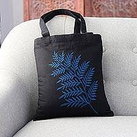 Cotton shoulder bag, 'Beautiful Frond in Blue' - Frond Motif Cotton Shoulder Bag in Blue and Black from India