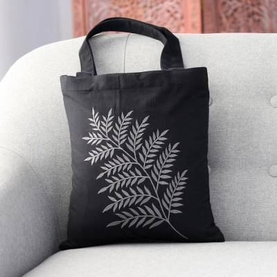 Cotton shoulder bag, 'Beautiful Frond in Ash' - Frond Motif Cotton Shoulder Bag in Ash and Black from India