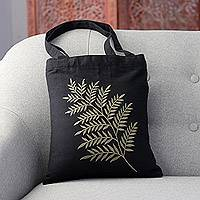 Cotton shoulder bag, 'Beautiful Frond in Sage' - Frond Motif Cotton Shoulder Bag in Sage and Black from India