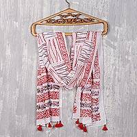 Block-printed cotton scarf, 'Stylish Charm' - Poppy and Maroon Block-Printed Cotton Wrap Scarf from India