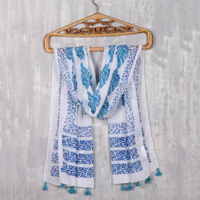 Block-printed cotton scarf, 'Pure Bouquet' - Turquoise and Lapis Floral Cotton Scarf from India