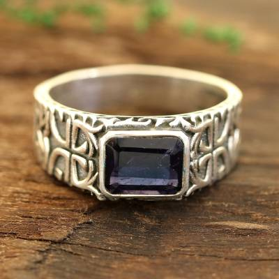 Men's single-stone ring, 'Majestic Strength' - Men's Iolite and Sterling Silver Single-Stone Ring