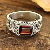 Men's single-stone ring, 'Majestic Strength' - Men's Garnet and Sterling Silver Single-Stone Ring