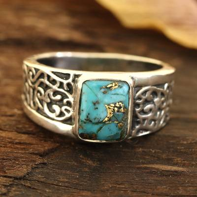 Men's sterling silver band ring, 'Bold Vine' - Men's Composite Turquoise Sterling Silver Band Ring
