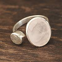 Rose quartz and labradorite wrap ring, 'Stylish Allure' - Rose Quartz and Labradorite Wrap Ring from India