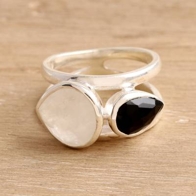 Rainbow moonstone and onyx cocktail ring, 'Teardrop Union' - Rainbow Moonstone and Onyx Teardrop Cocktail Ring from India