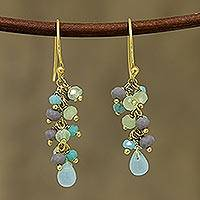 Gold plated chalcedony cluster earrings, 'Fruit of the Tropics' - Gold Plated Chalcedony Cluster Earrings from India