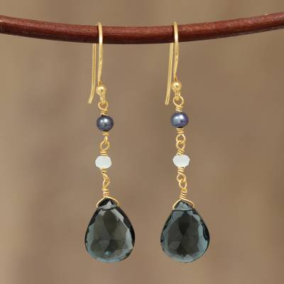 Gold plated London blue topaz dangle earrings, 'London Dazzle' - Gold Plated London Blue Topaz Dangle Earrings from India