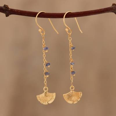 Gold plated iolite dangle earrings, 'Ginkgo Hope' - Gold Plated Iolite Ginkgo Leaf Dangle Earrings from India