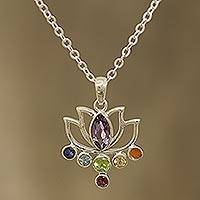 Multi-gemstone pendant necklace, 'Lotus Chakra' - Floral Multi-Gemstone Chakra Pendant Necklace from India