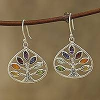 Multi-gemstone dangle earrings, 'Energy Tree' - Multi-Gemstone Chakra Tree Dangle Earrings from India