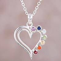 Multi-gemstone pendant necklace, 'Balanced Heart' - Heart-Shaped Multi-Gemstone Chakra Necklace from India