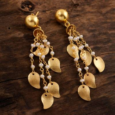 Gold plated cultured pearl waterfall earrings, 'Mango Dangle' - 22k Gold Plated Cultured Pearl Waterfall Earrings from India