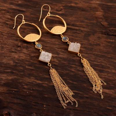 Gold plated drusy quartz and labradorite waterfall earrings, Lovely Cascade