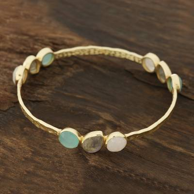 Gold plated multi-gemstone bangle bracelet, 'Lavish Harmony' - Gold Plated Multi-Gemstone Bangle Bracelet from India
