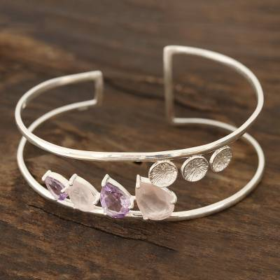 Rose quartz and amethyst cuff bracelet, 'Dazzling Teardrops' - Rose Quartz and Amethyst Cuff Bracelet from India