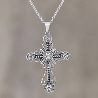 Sterling silver pendant necklace, 'Floral Faith' - Floral Cross Sterling Silver Pendant Necklace from India