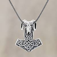 Men's sterling silver pendant necklace, 'Thor Ram' - Men's Sterling Silver Thor's Hammer Pendant Necklace