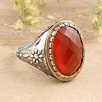 Onyx single-stone ring, 'Glistening Fire' - 14-Carat Red-Orange Onyx Single-Stone Ring from India