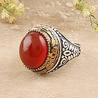 Onyx domed ring, 'Fiery Allure' - Red-Orange Onyx Domed Ring Crafted in India