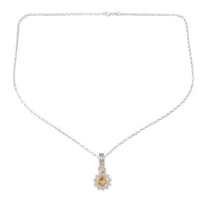 Citrine pendant necklace, 'Gleaming Flower' - Floral Citrine Pendant Necklace Crafted in India
