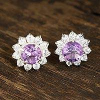 Amethyst stud earrings, 'Gleaming Flower' - Floral Amethyst Stud Earrings Crafted in India