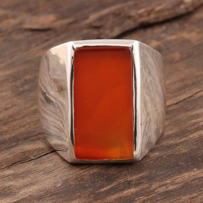 Men's carnelian ring, 'Red-Orange Obelisk' - Men's Natural Carnelian Ring Crafted in India