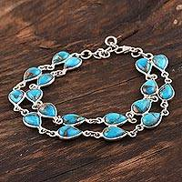 Composite turquoise link bracelet, 'Eternal Nature' - Teardrop Composite Turquoise Link Bracelet from India