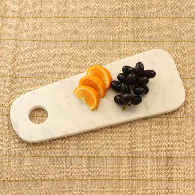Marble platter, 'Chic Server' - White Marble Platter with Hole from India
